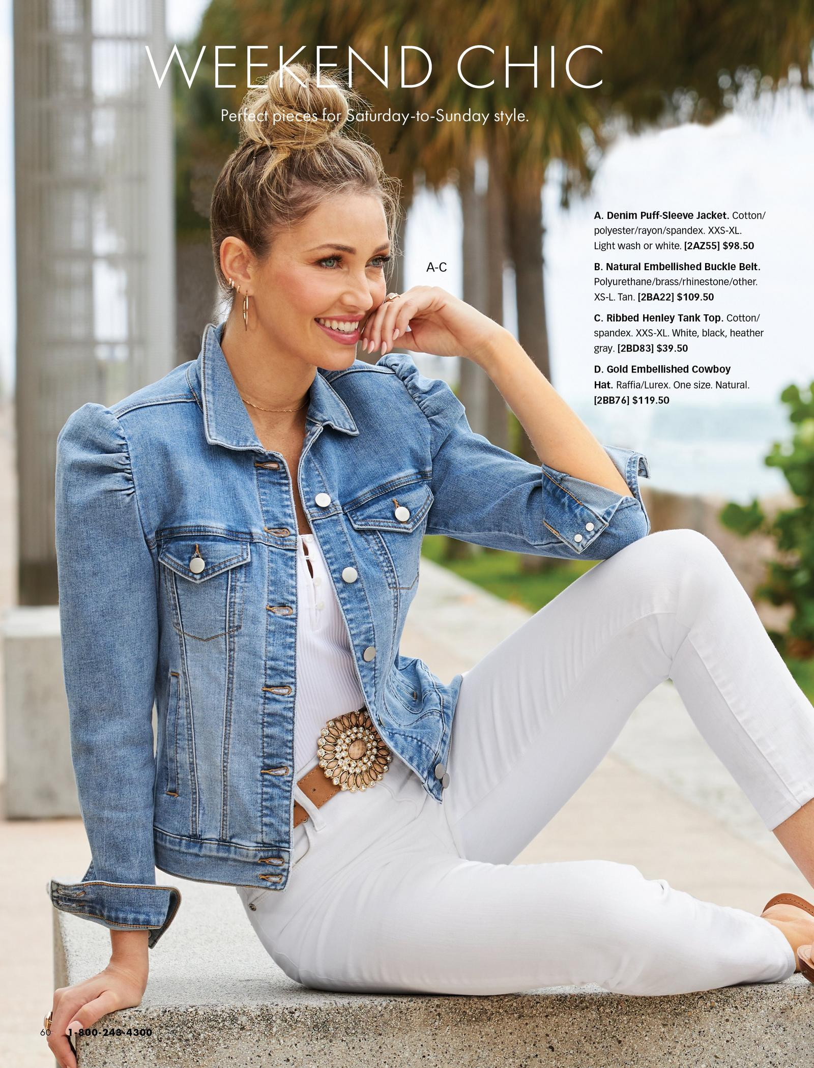 model wearing a puff-sleeve denim jacket, white tank top, brown jeweled belt, and white jeans.