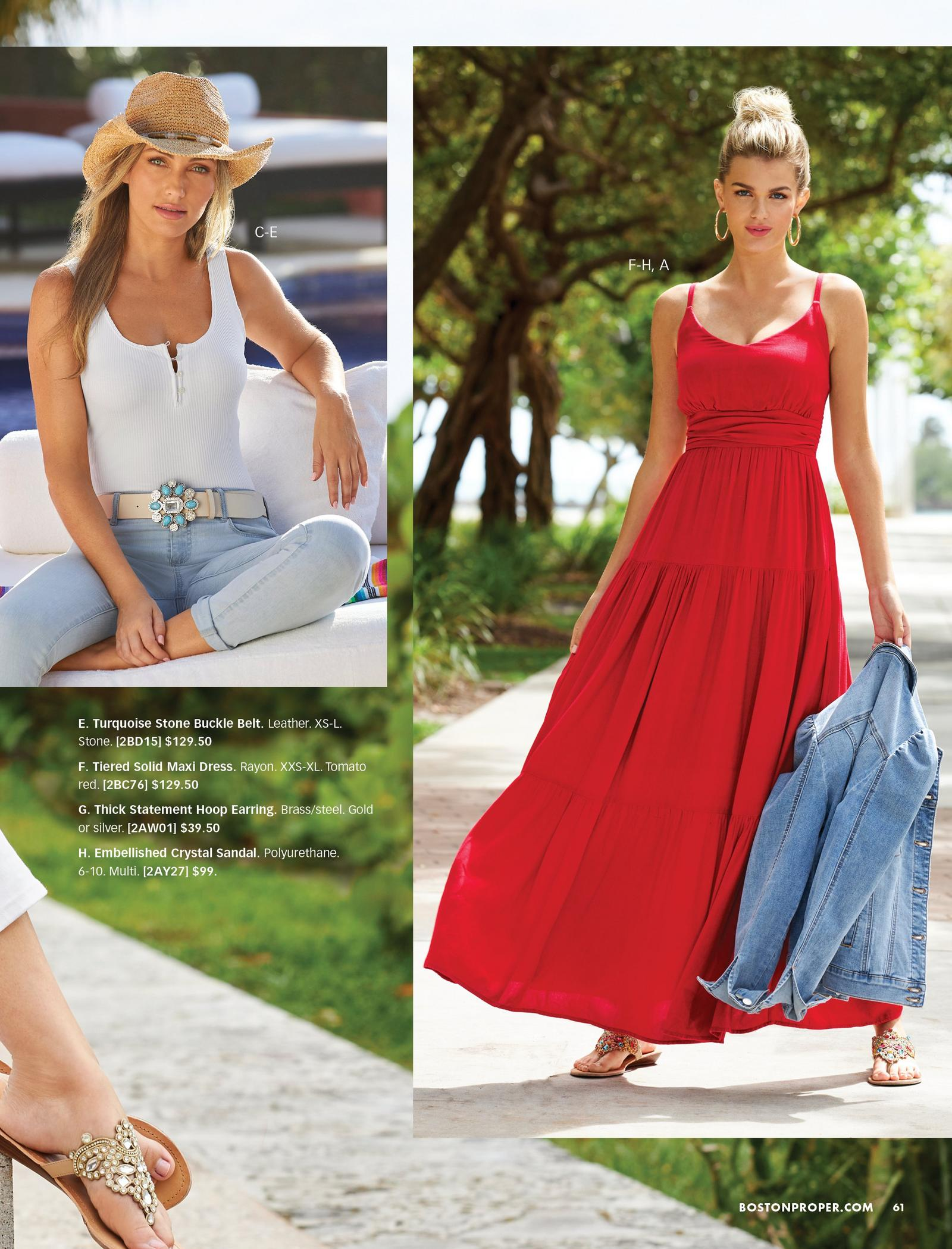 left model wearing a white henley tank top, white belt with turquoise stone embellishments, gold embellished cowboy hat, and light wash jeans. right model wearing a red sleeveless tiered maxi dress, multicolored jeweled sandals, and holding a jean jacket.