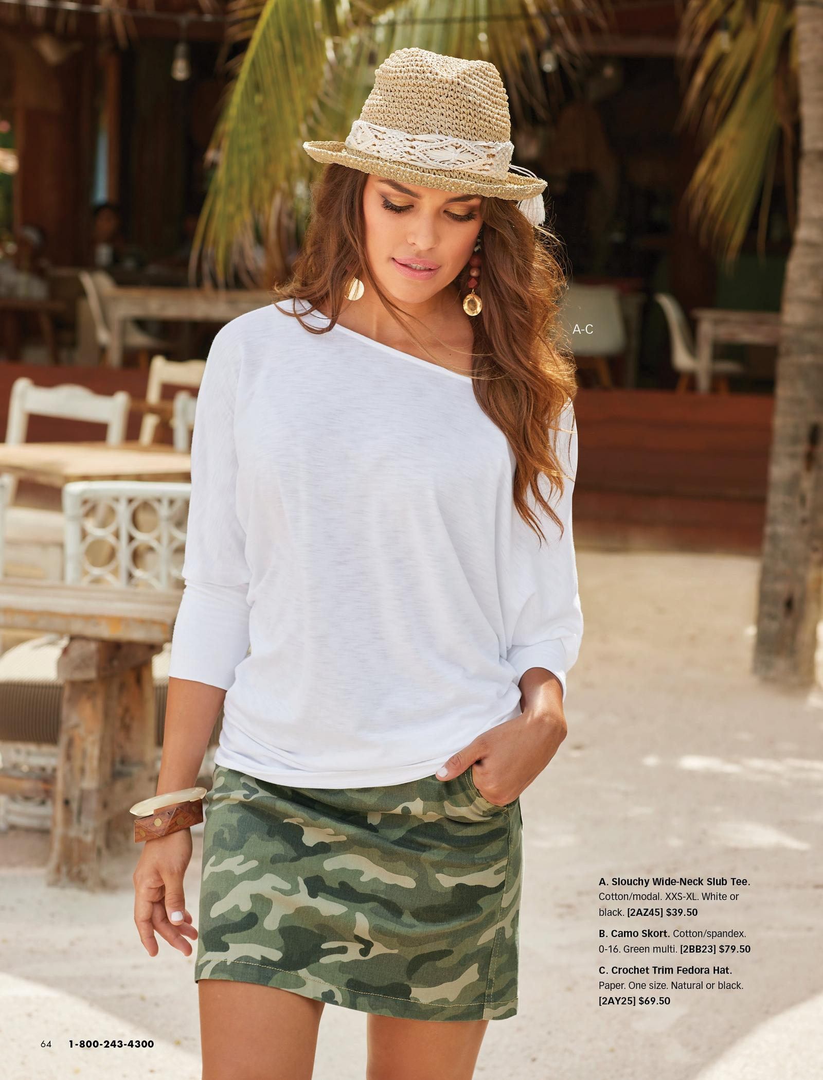 model wearing a white off-the-shoulder long-sleeve top, straw hat with white lace detail, and camo skort.