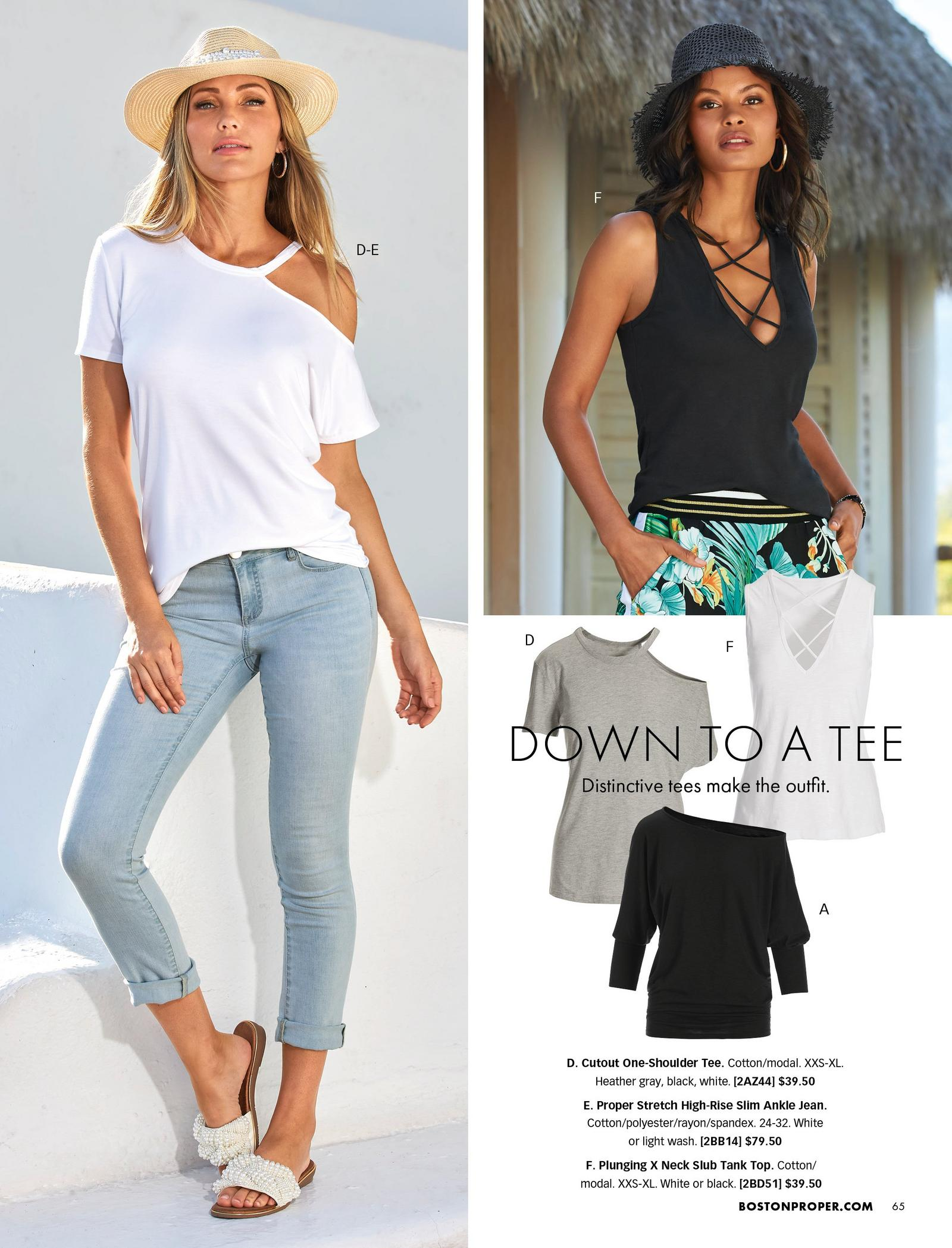left model wearing a white off-the-shoulder tee, light wash ankle jeans, pearl embellished slide sandals, and straw hat. top right model wearing a black x-neck tank top, jungle print pants, and black hat. also shown: gray off-the-shoulder tee, white x-neck tank top, and black off-the-shoulder slouchy long-sleeve top.