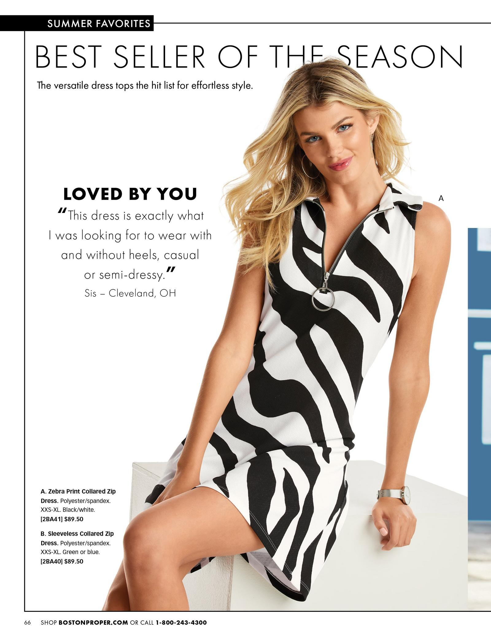 model wearing a black and white zebra striped sleeveless collared dress.