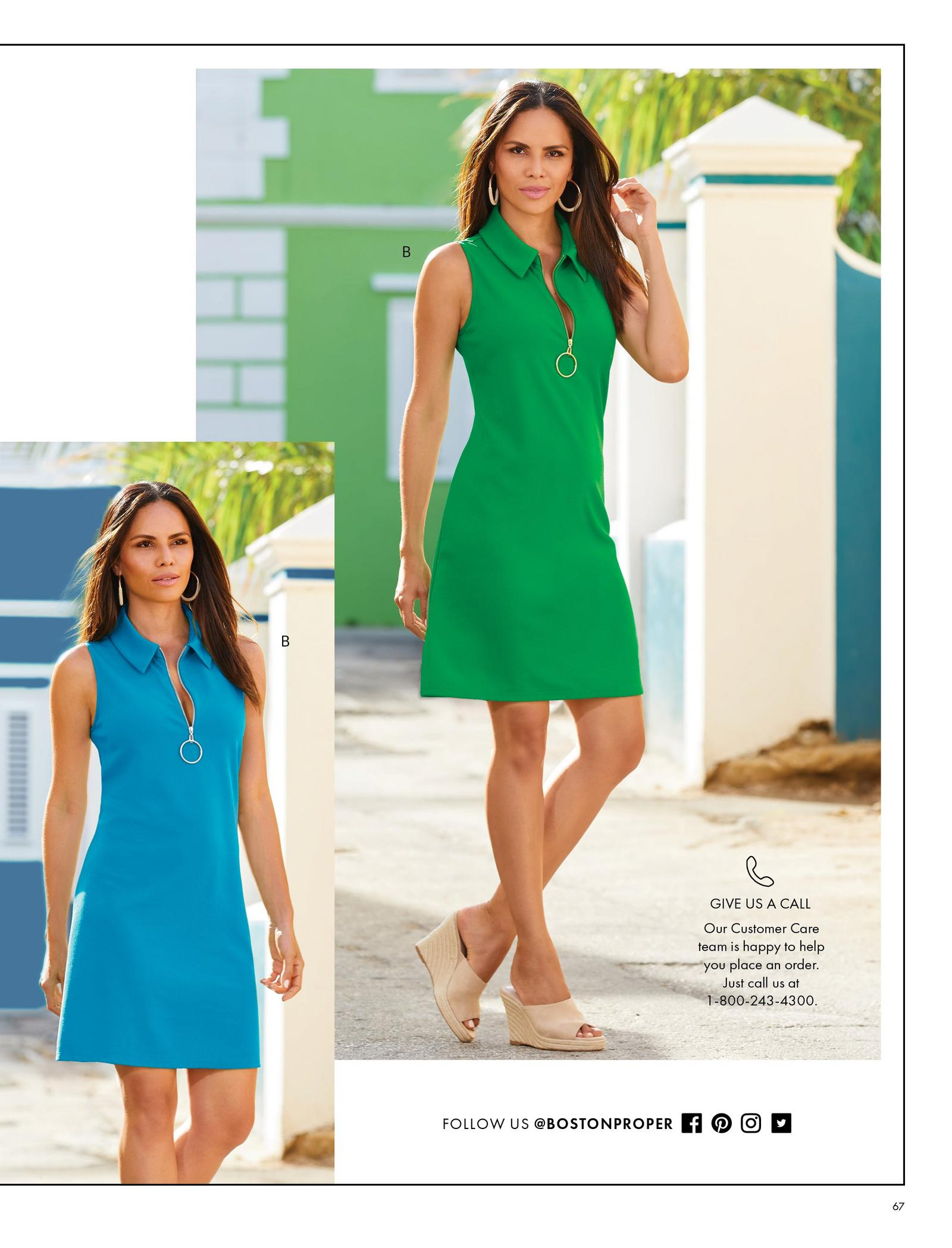 left model wearing a light blue sleeveless collared sport dress. right m,odel wearing the same dress in green.