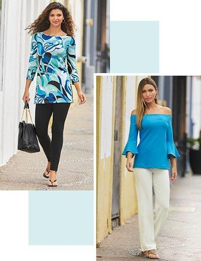 left model wearing a blue paisley printed wide-neck long-sleeve top and black leggings with black sandals and holding a black handbag. right model wearing a light blue off-the-shoulder flare sleeve top and white palazzo pants.