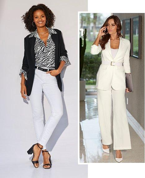left model wearing a black and white zebra print button-down top, black blazer, white jeans, black belt, and black single-strap heels. right model wearing a white blazer, white tank top, white palazzo pants, and white heels.