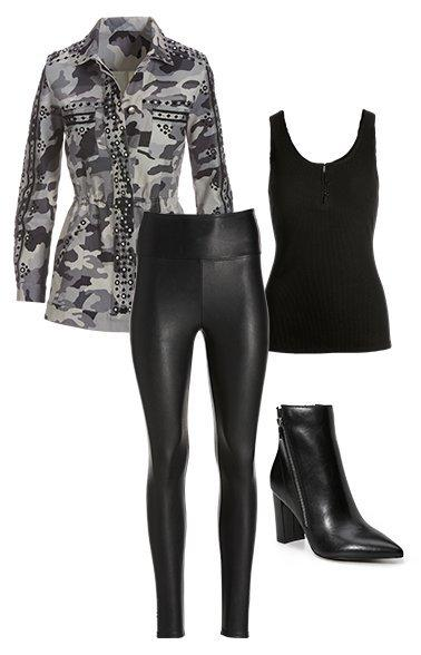 products shown: an embellished camouflage utility jacket, black faux leather leggings, black henley tank top, and black leather block heeled ankle boots.