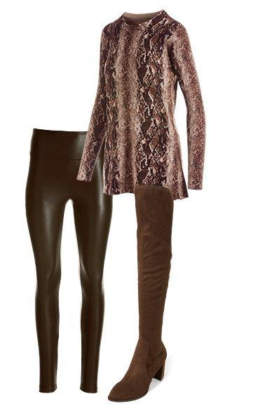 products shown: brown faux leather leggings, brown suede over-the-knee boots, and brown snake print long sleeve tunic.