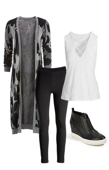 products shown: camouflage long sweater duster, black leggings, white x-neck tank top, and black sneaker wedges.
