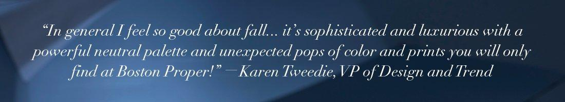 white quote on a blue gradient background by our vice president of design and trend.