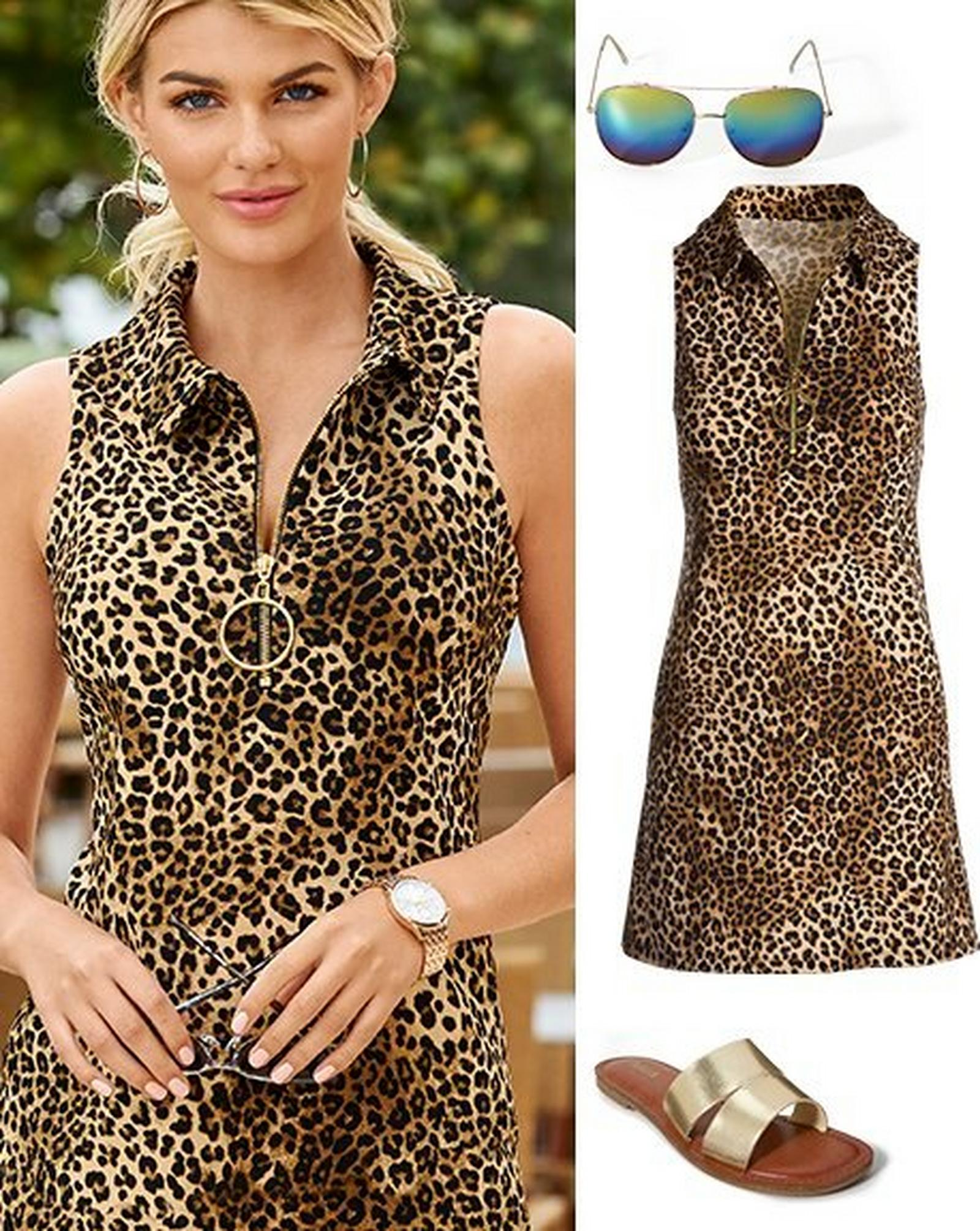 left model wearing a leopard print sleeveless collared dress. right panel: leopard print sleeveless collared dress, aviator sunglasses, and gold double-strap sandals.