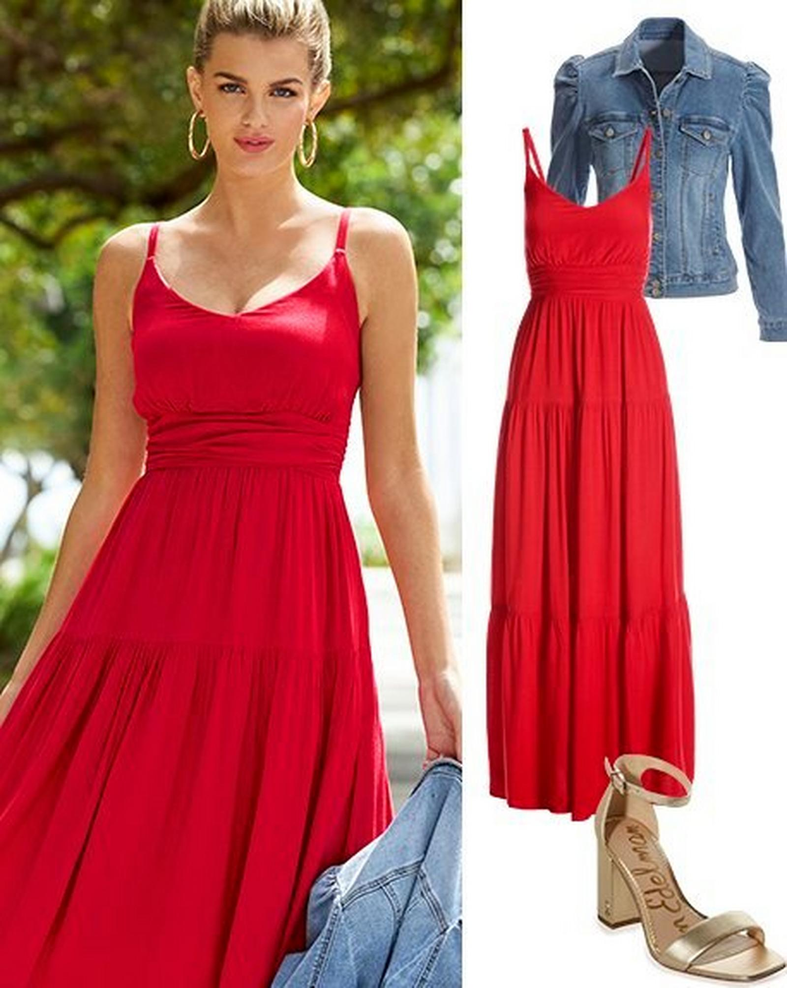 left model wearing a red sleeveless tiered maxi dress, gold earrings, and holding a denim jacket. right panel: red sleeveless tiered maxi dress, puff-sleeve denim jacket, gold single strap heels.