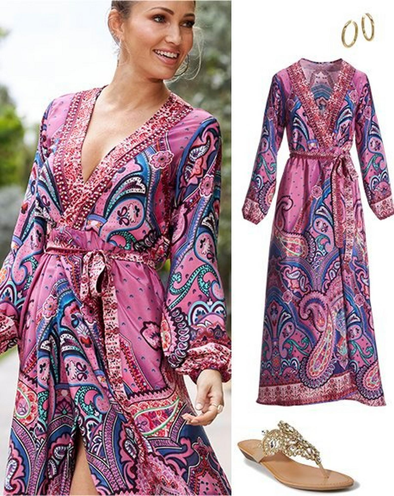 left model wearing a multicolored paisley print long-sleeve wrap maxi dress. right panel: multicolored paisley print long-sleeve wrap maxi dress, gold hoop earrings, gold jeweled sandals.