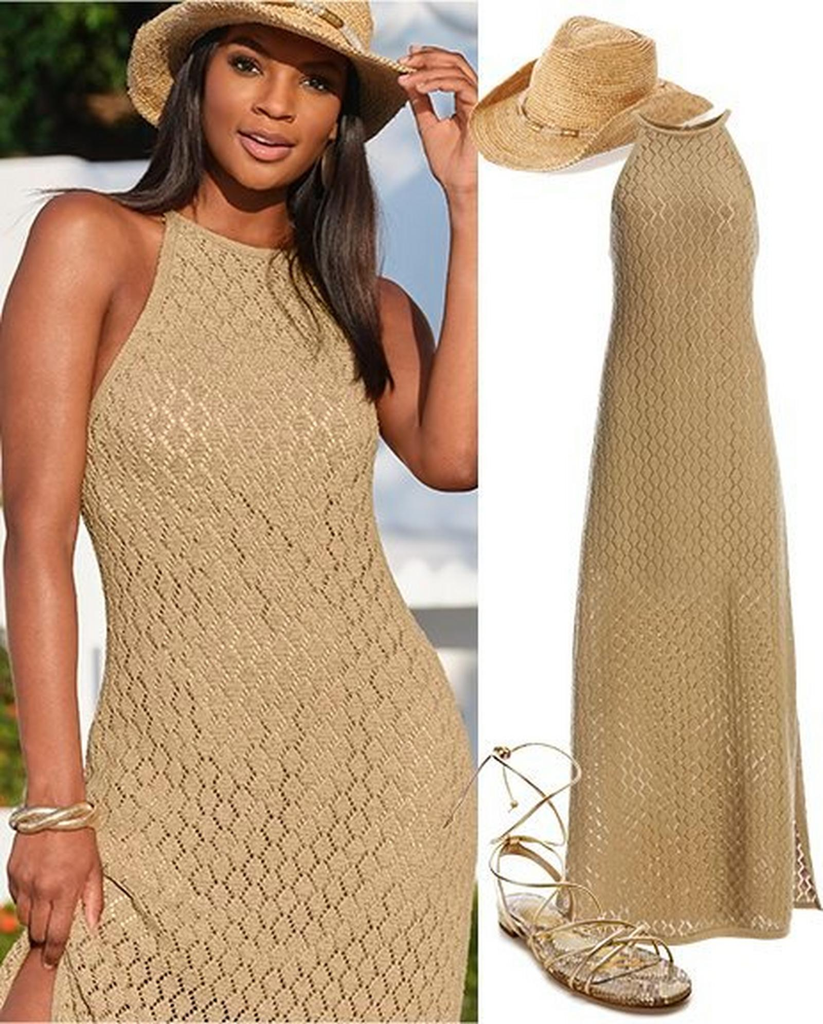 left model wearing a tan high-neck sleeveless knit maxi dress and gold embellished cowboy hat. right panel: tan high-neck sleeveless knit maxi dress, gold embellished cowboy hat, gold lace-up sandals.