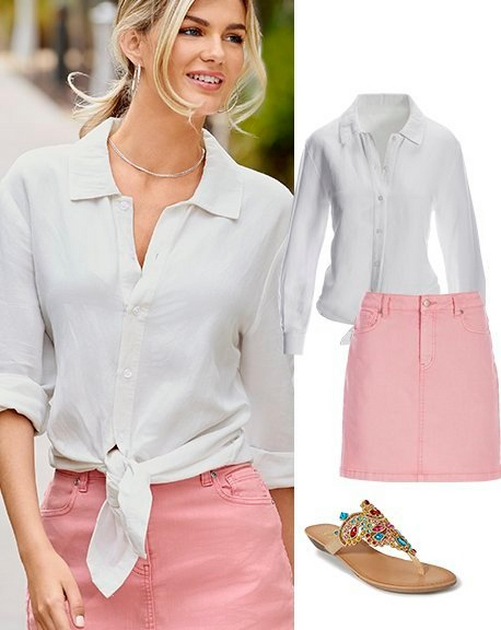 left model wearing a white button-down long-sleeve linen top that has been tied at the front and a pink denim skort. right panel: white button-down long-sleeve linen top that has been tied at the front, a pink denim skort, multicolored jeweled sandals.