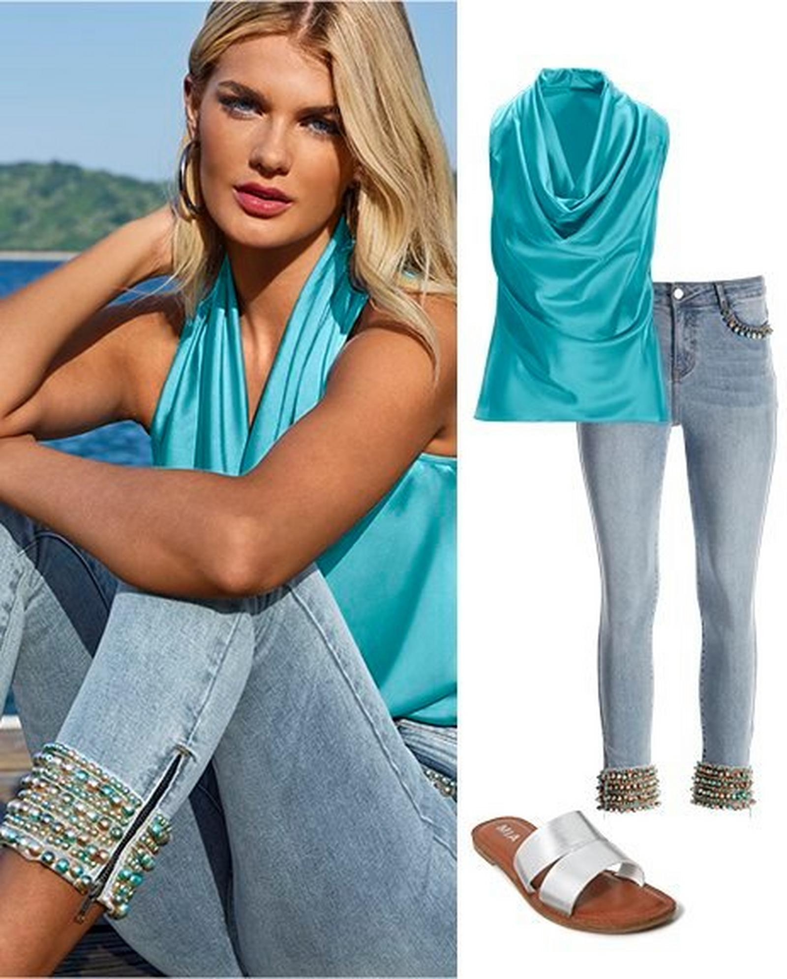 left model wearing a light blue sleeveless cowl neck top and pearl embellished ankle jeans. right panel: light blue sleeveless cowl neck top, pearl embellished ankle jeans, and silver double strap sandals.