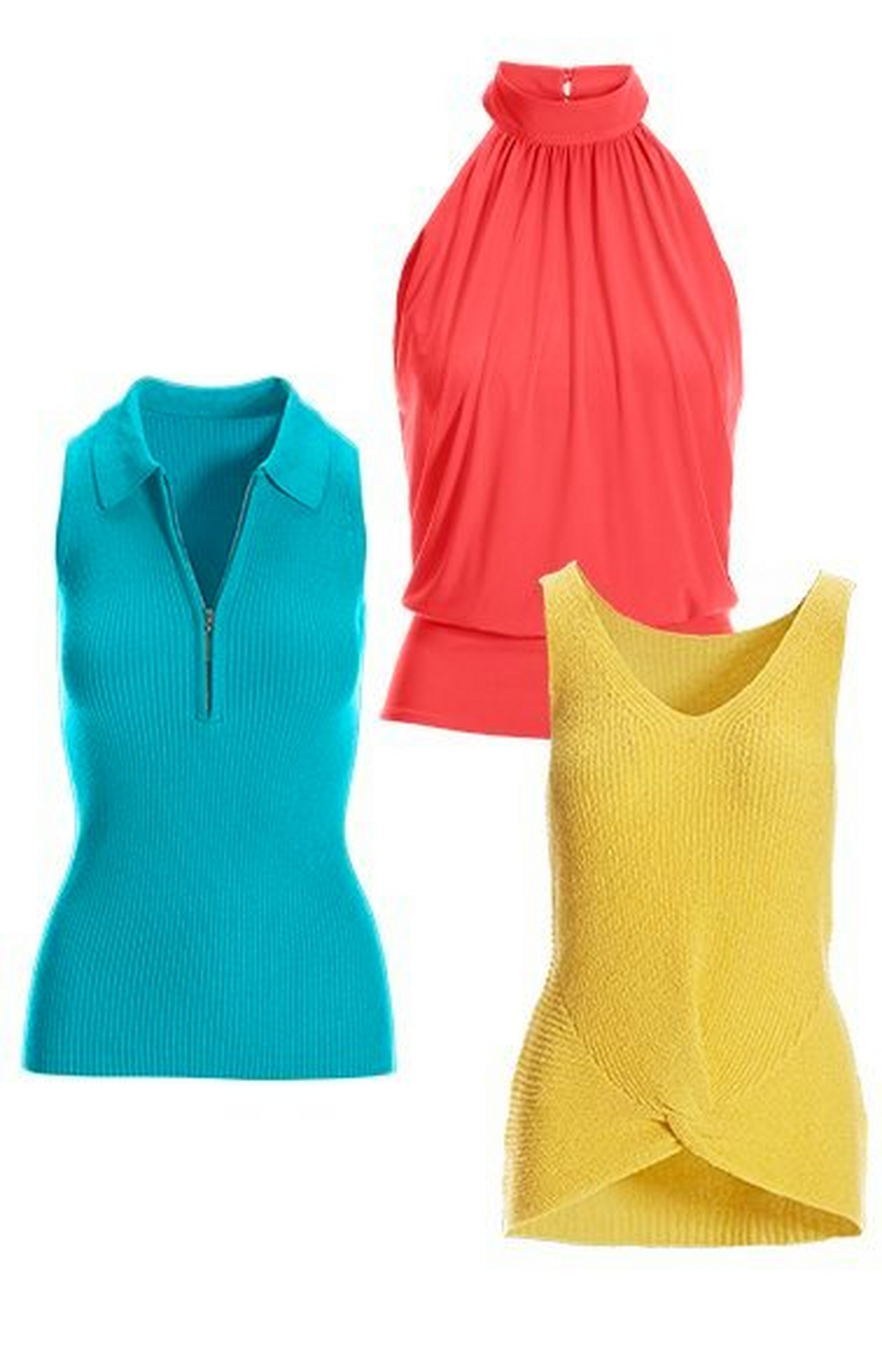 blue sleeveless zippered collared sweater, coral mock-neck blouson sleeveless top, and yellow sleeveless knot-front sweater.