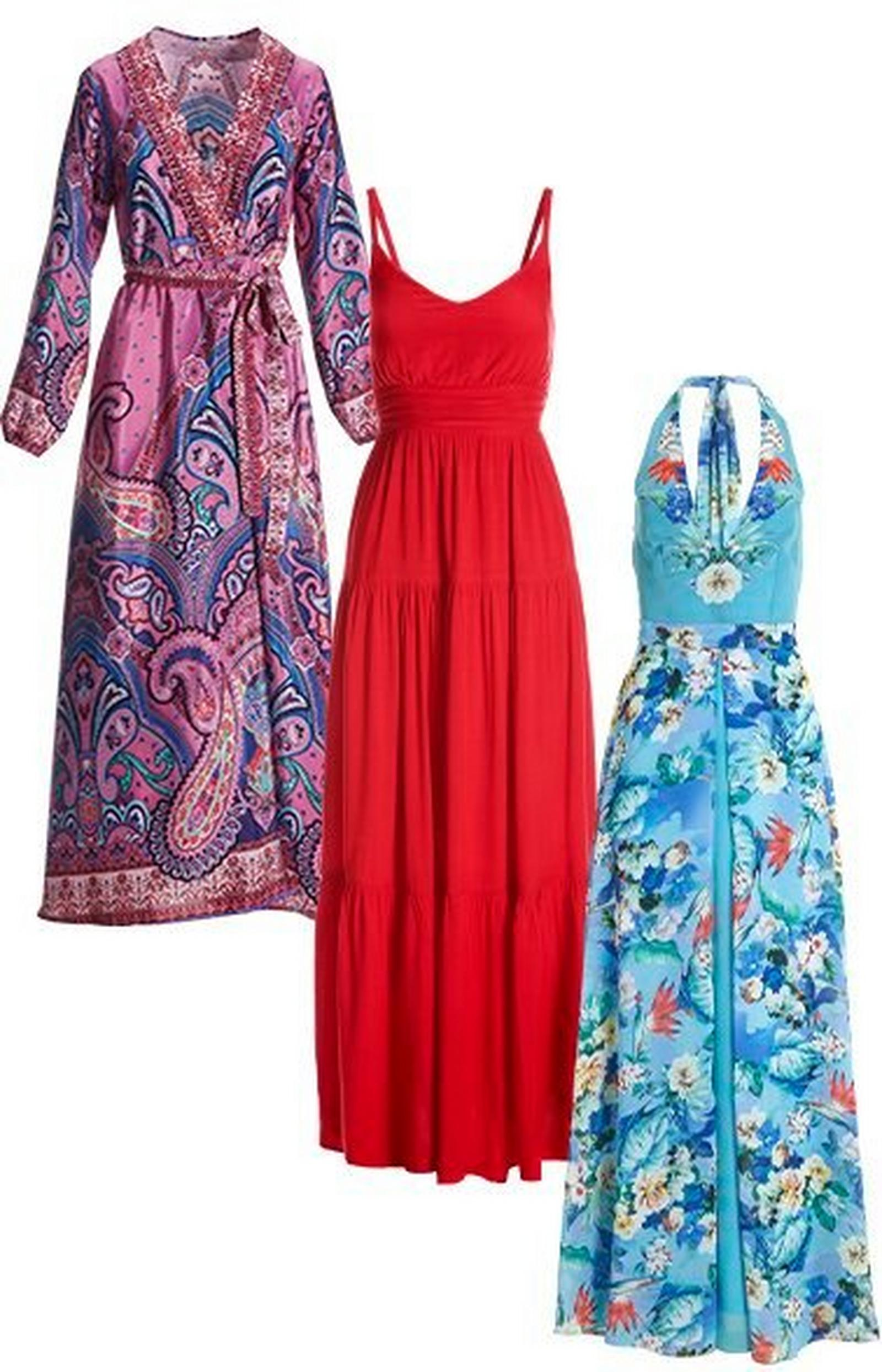 multicolored paisley print long-sleeve wrap maxi dress, red sleeveless tiered maxi dress, and light blue halter-neck dress with a floral overlay.