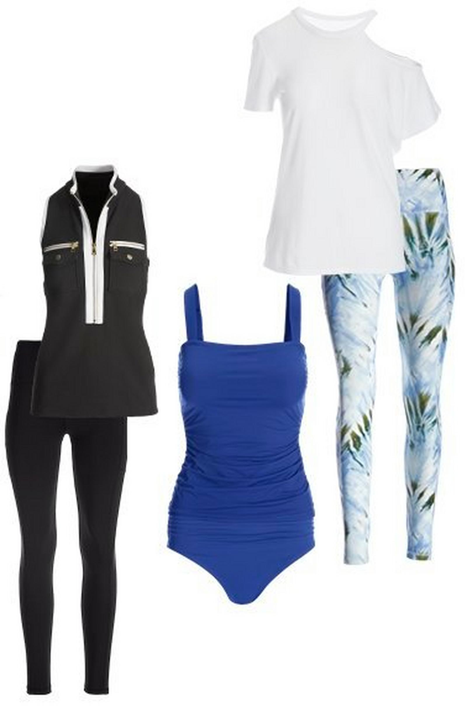three sets shown: black sleeveless chic zip sport top and black leggings, navy blue tankini set, white off-the-shoulder tee and blue and green tie-dye leggings.