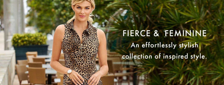 model wearing a sleeveless leopard print collared dress.