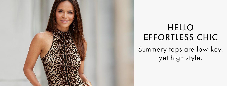 model wearing a mock-neck sleeveless leopard print top.