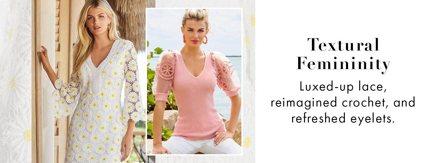 left model wearing a daisy embroidered white lace long-sleeve sheath dress. right model wearing a pink crochet sleeve v-neck sweater and white jeans.
