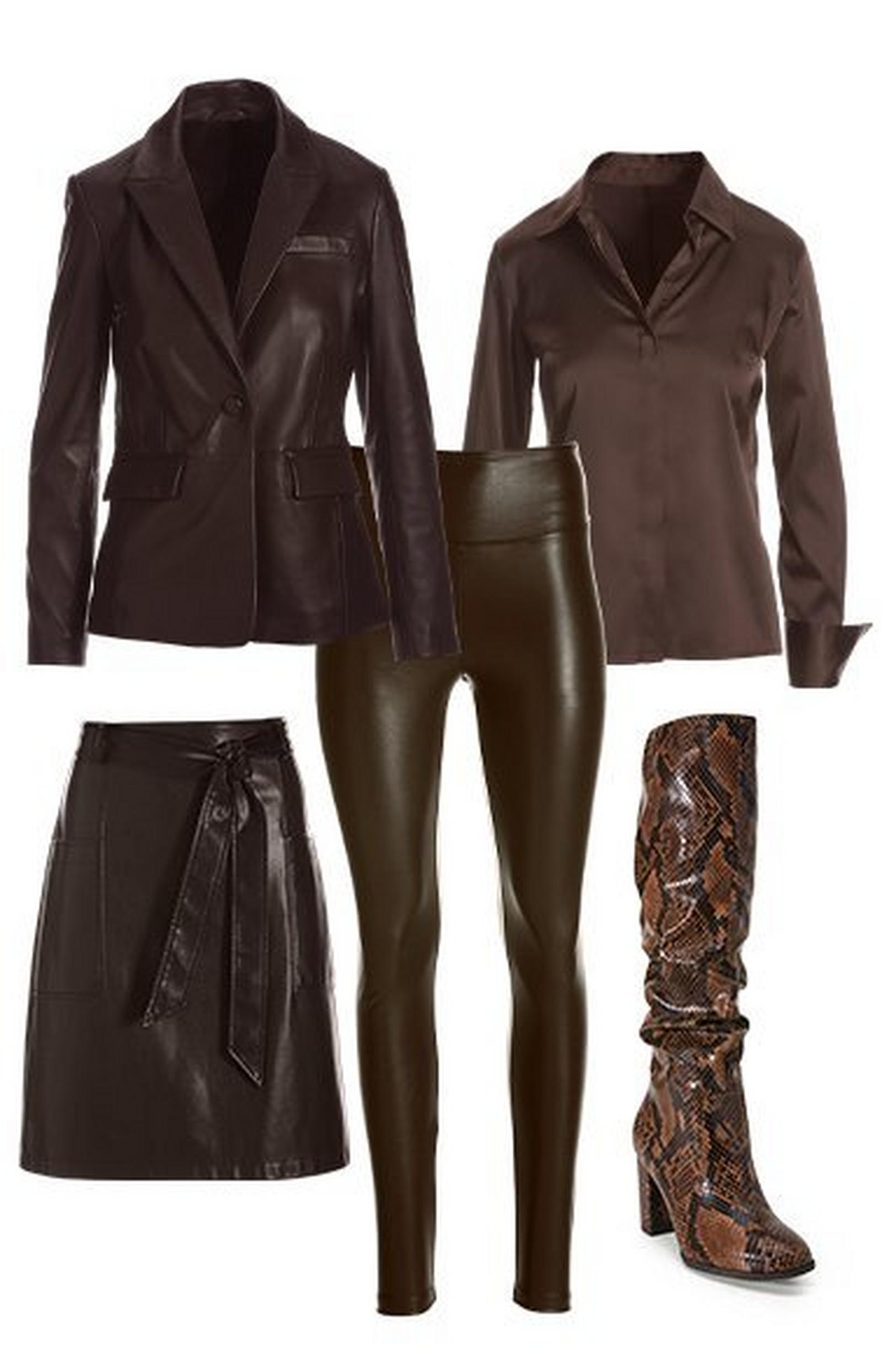 pullout shots: chocolate brown leather blazer, chocolate brown button-down long sleeve top, chocolate brown faux-leather skirt, chocolate brown faux-leather leggings, and brown leopard print slouchy heeled boots.