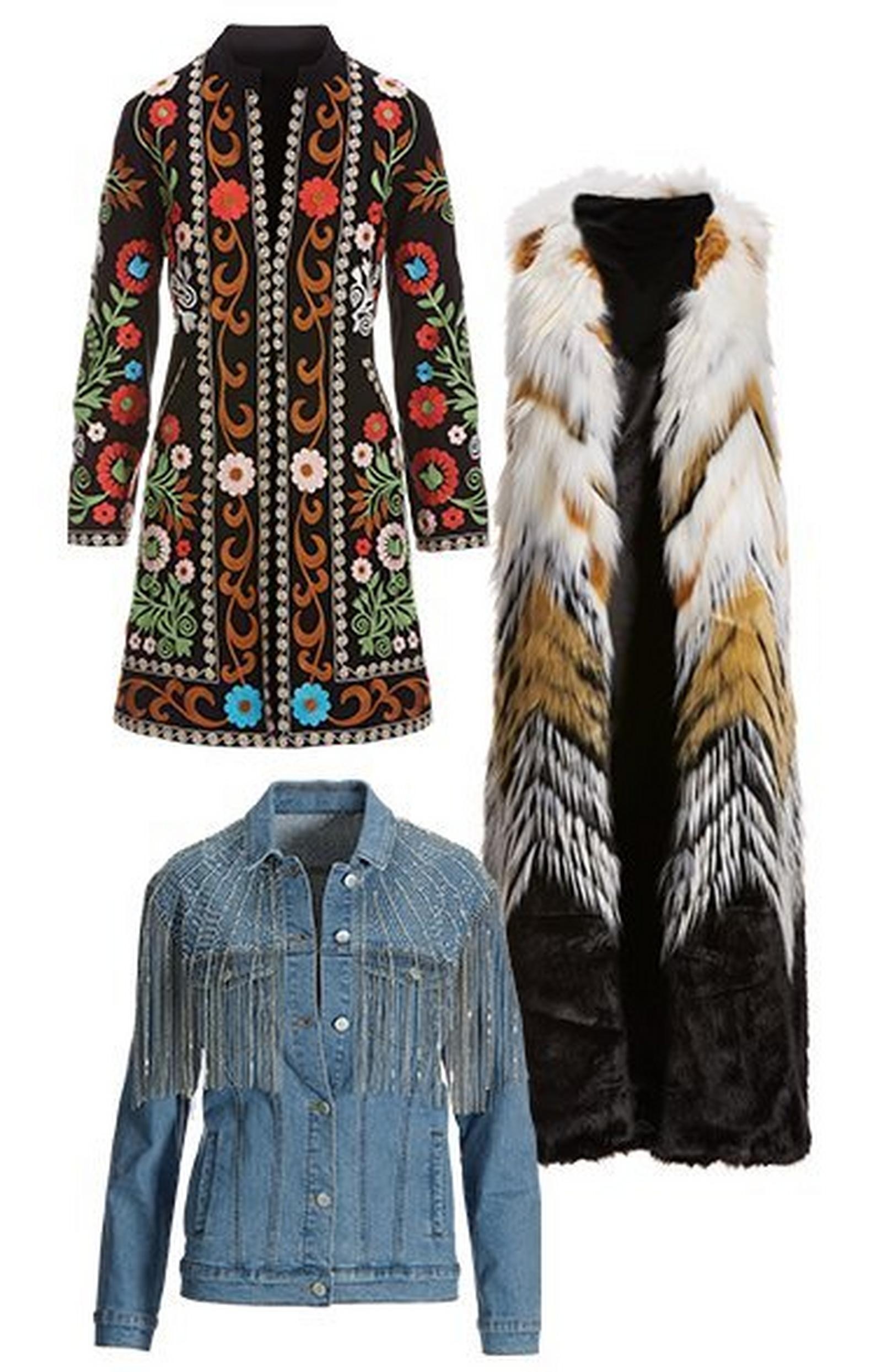 pullout images: floral embroidered topper jacket, multicolored faux-fur long vest, and denim jacket with rhinestone fringe detail.