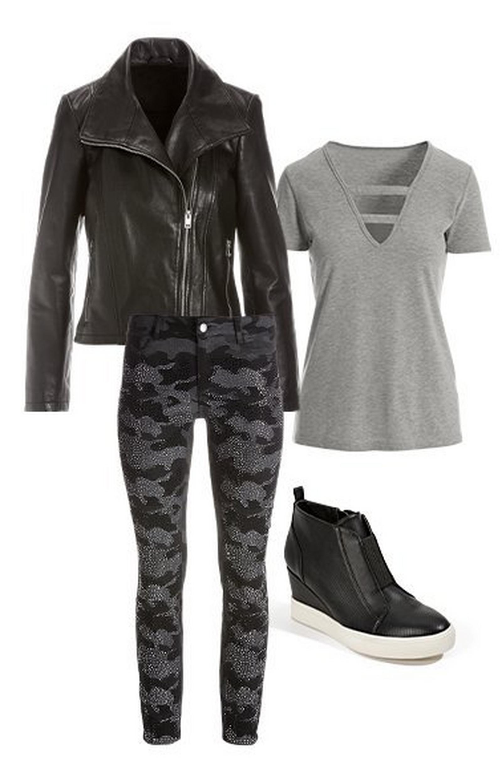 pullout images: black collared leather jacket, gray v-neck tee shirt, crystal embellished gray camo jeans, and black sneaker wedges.