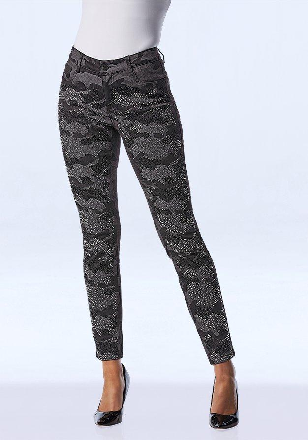 gray jewel embellished camouflage jeans.