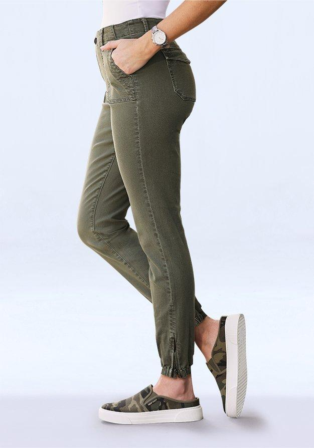 olive green joggers.
