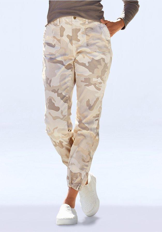 cream camouflage joggers.