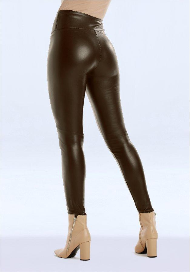 brown faux leather leggings.