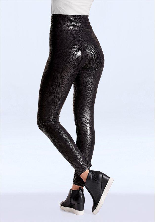 black python faux feather leggings.