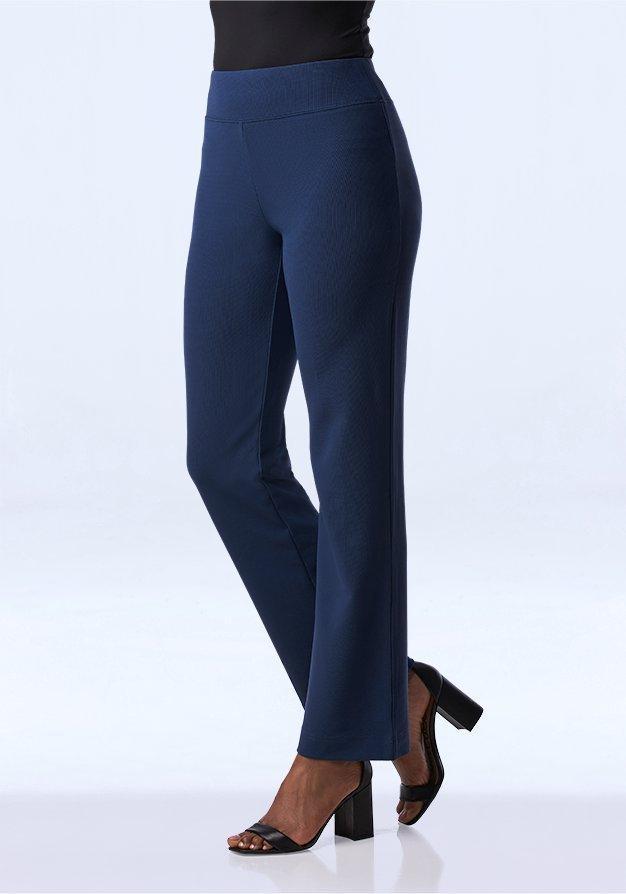 blue straight leg pants.