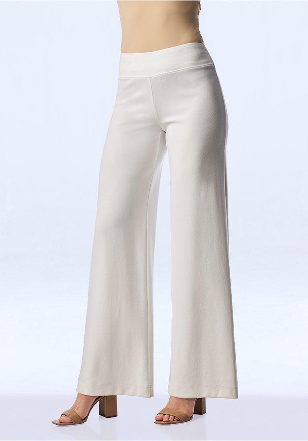 white palazzo pants.