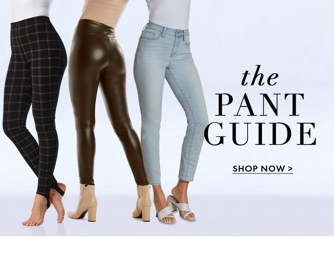 models from left to right: black and white plaid leggings, brown faux leather leggings, and light wash ankle jeans.