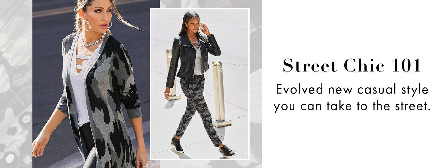 left model wearing a gray camouflage sweater duster, white cutout tank top, and black faux-leather leggings. right model wearing a black leather jacket, white cutout tank top, gray camouflage jeans, and black wedge sneakers.