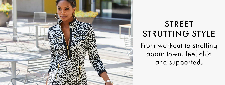 model wearing a leopard print long-sleeve chic zip dress.