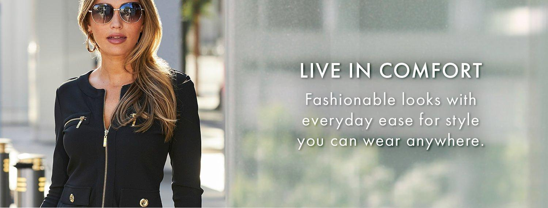 model wearing a black chic zip two-piece set.