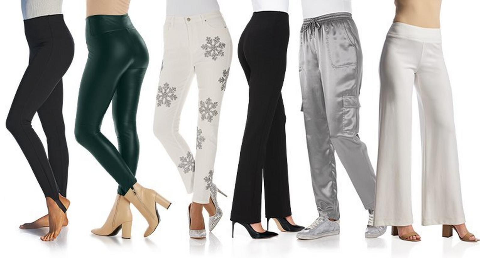 from left to right: black stirrup leggings, dark green faux-leather leggings, white jeans with rhinestone snowflake embellishments, black straight leg pants, silver charmeuse cargo pants, and white palazzo pants.
