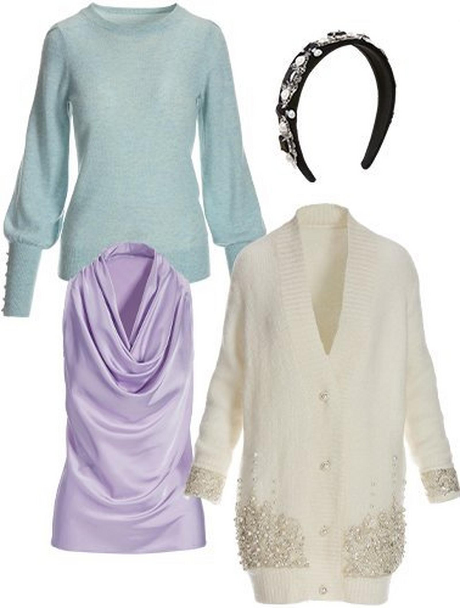 light blue button-cuff puff-sleeve cashmere sweater, lavender cowl neck sleeveless charmeuse top, white rhinestone embellished cardigan sweater, and a black pearl embellished headband.