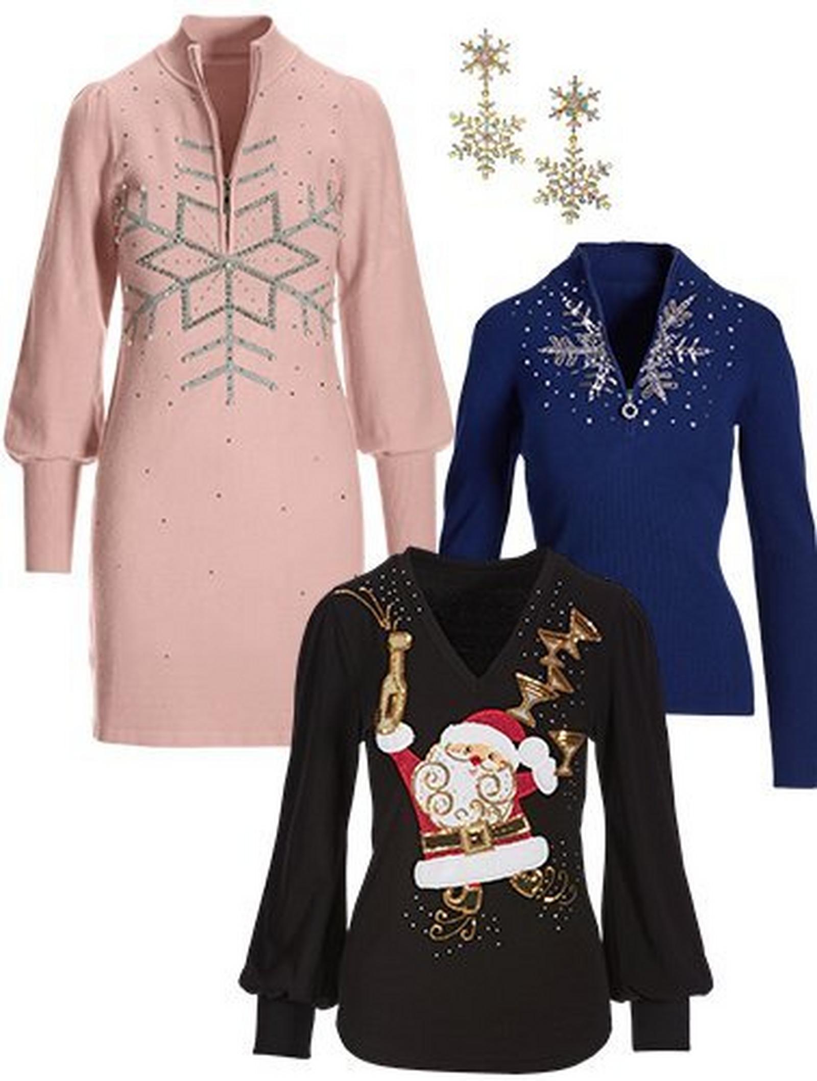 light pink long-sleeve sweater dress with rhinestone embellishments, santa puff-sleeve sweater, navy snowflake half-zip sweater, and double snowflake earrings.