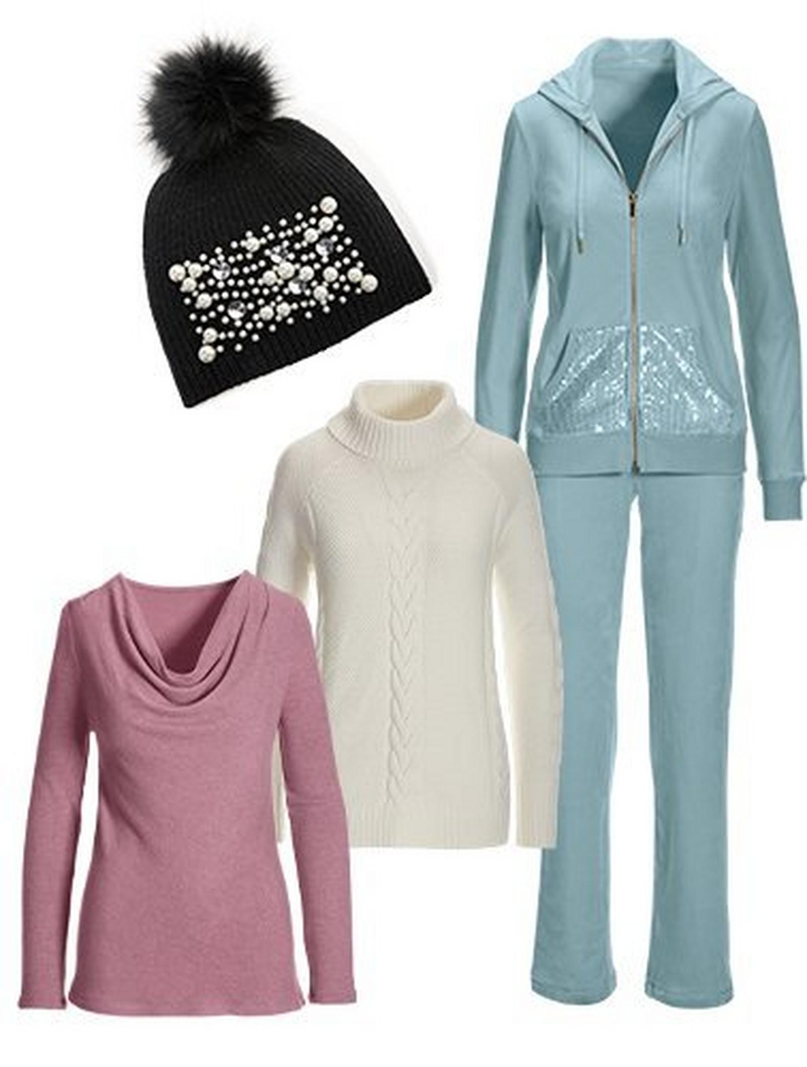 mauve cowl-neck long-sleeve hacci top, off-white cable turtleneck sweater, light blue sequin embellished two-piece set, and a black pearl embellished beanie.
