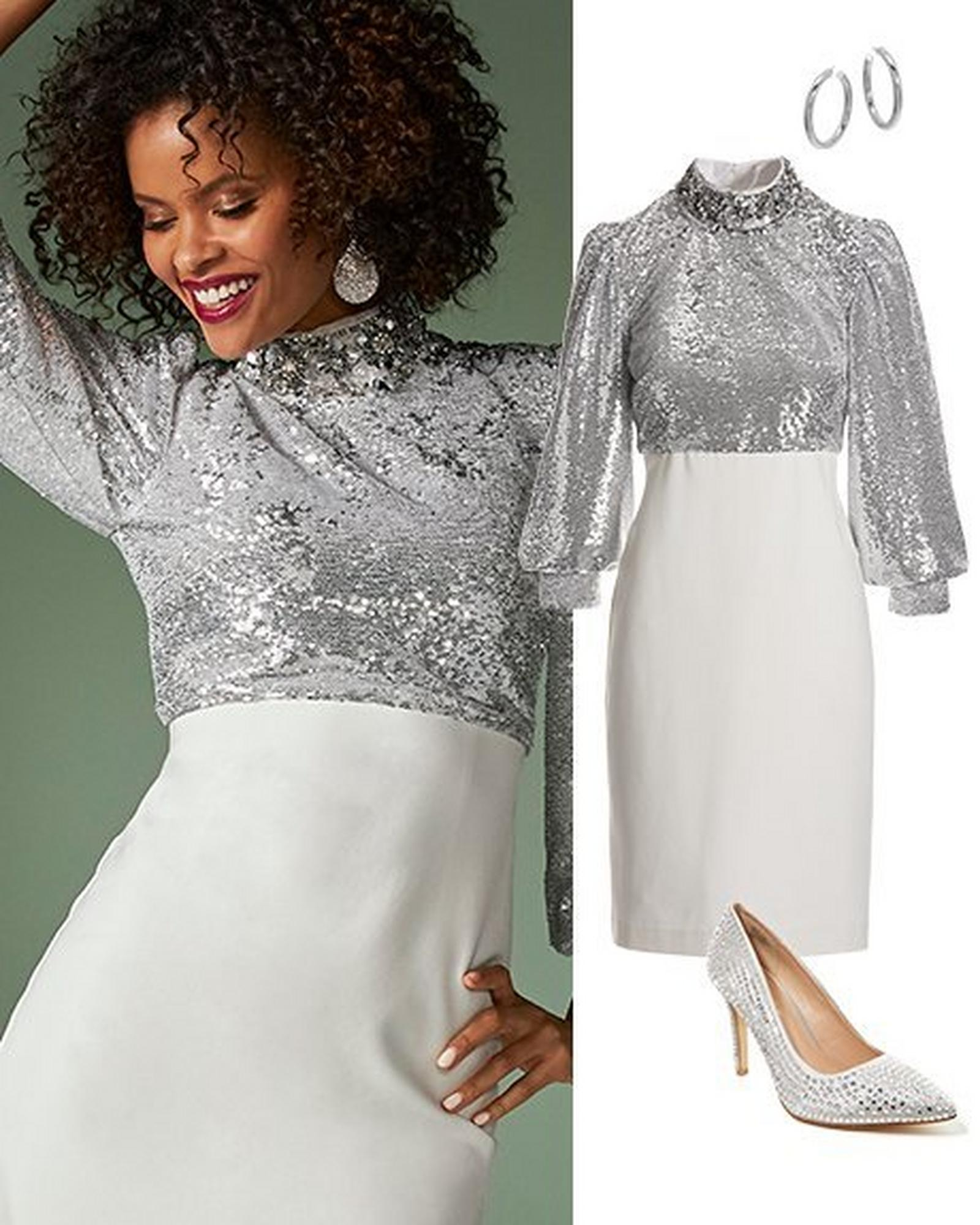 model wearing a silver sequin embellished long-sleeve sheath dress with a white skirted bottom. to the right: the same dress alongside silver hoop earrings and silver rhinestone embellished pumps.