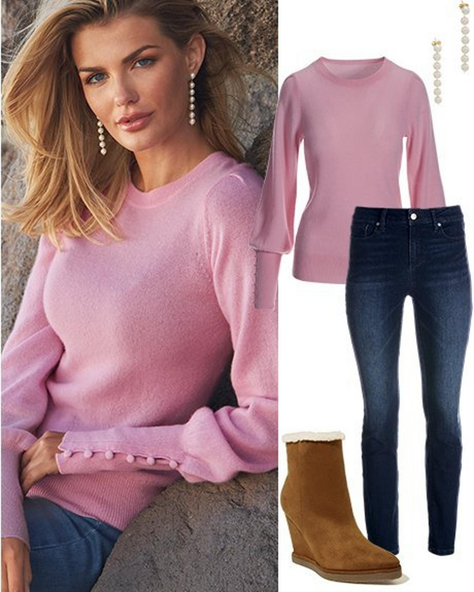 model wearing a light pink button-cuff cashmere sweater. to the right: the same sweater with dark wash jeans, pearl strand earrings, and brown faux-shearling lined wedges.
