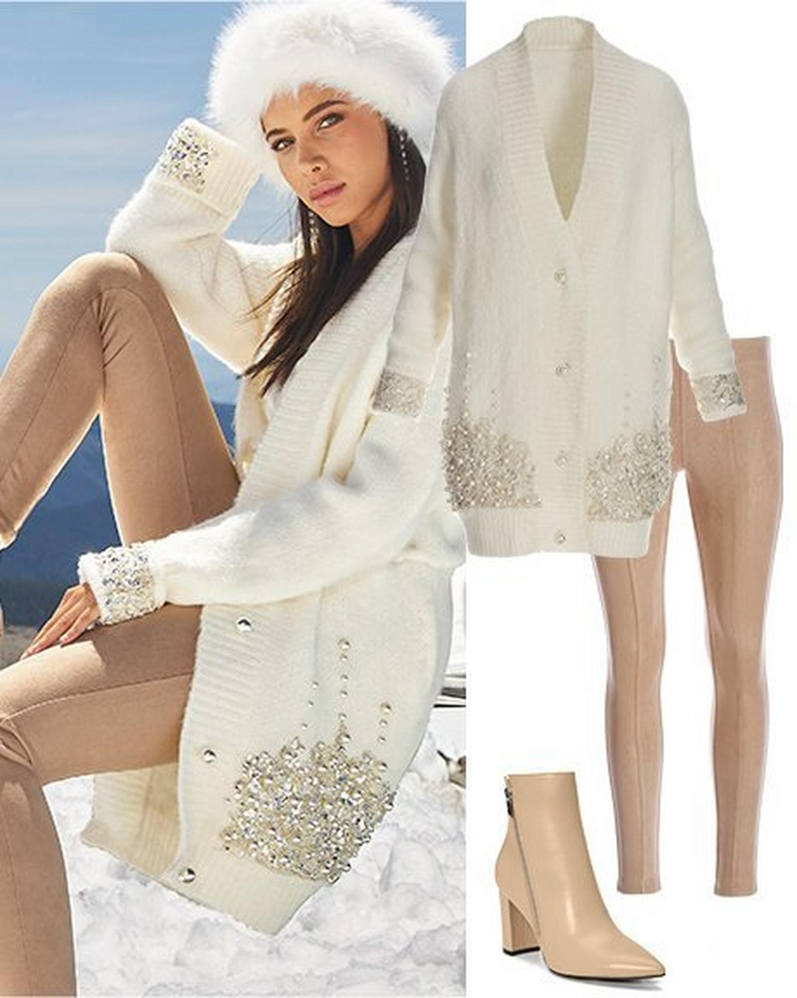model wearing a white rhinestone embellished cardigan, white faux-fur hat, and tan faux-suede leggings.to the right: same cardigan and leggings shown with tan leather booties.
