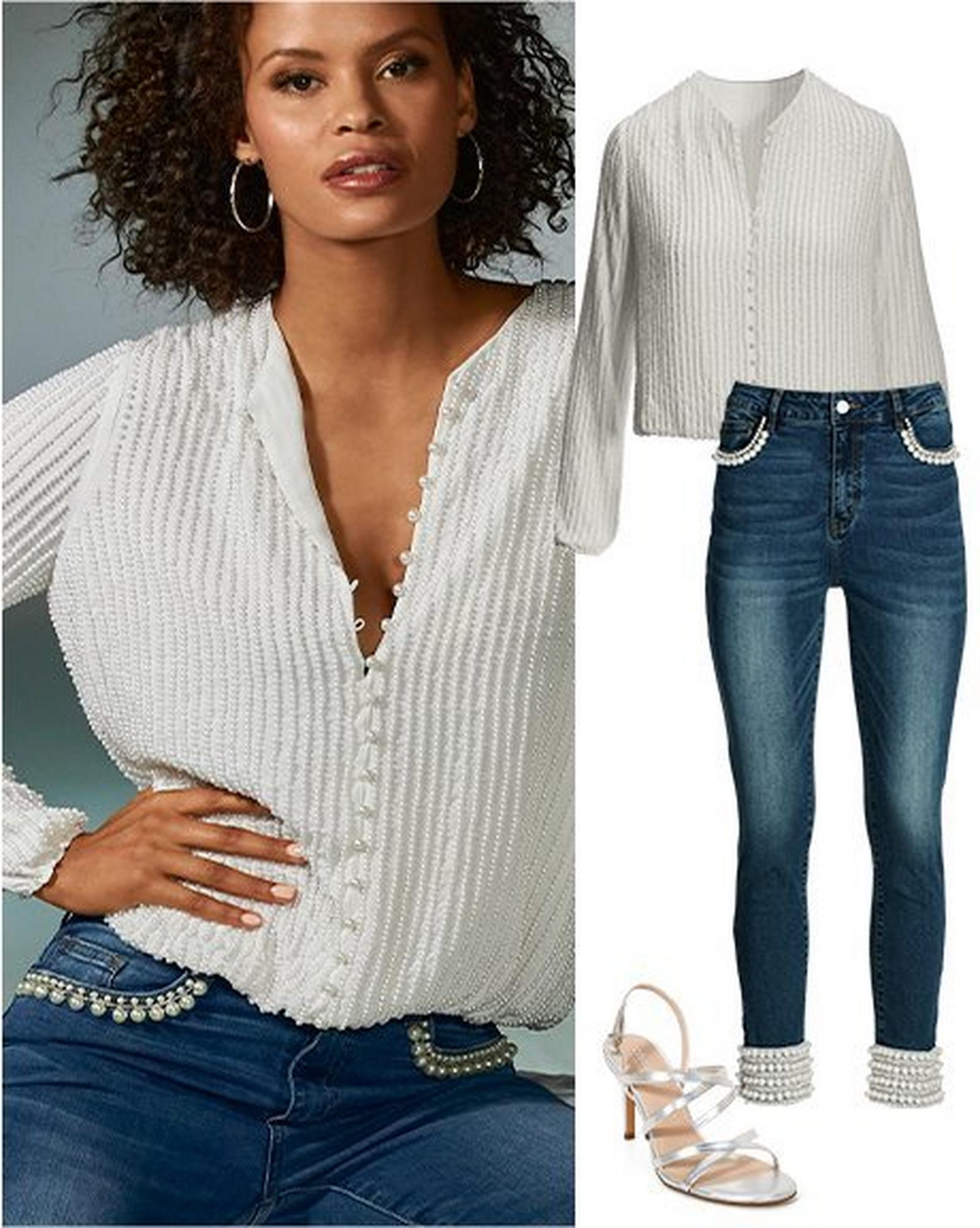 model wearing a pearl embellished button-down top and pearl embellished jeans. to the right: same top and jeans with silver strappy heels.