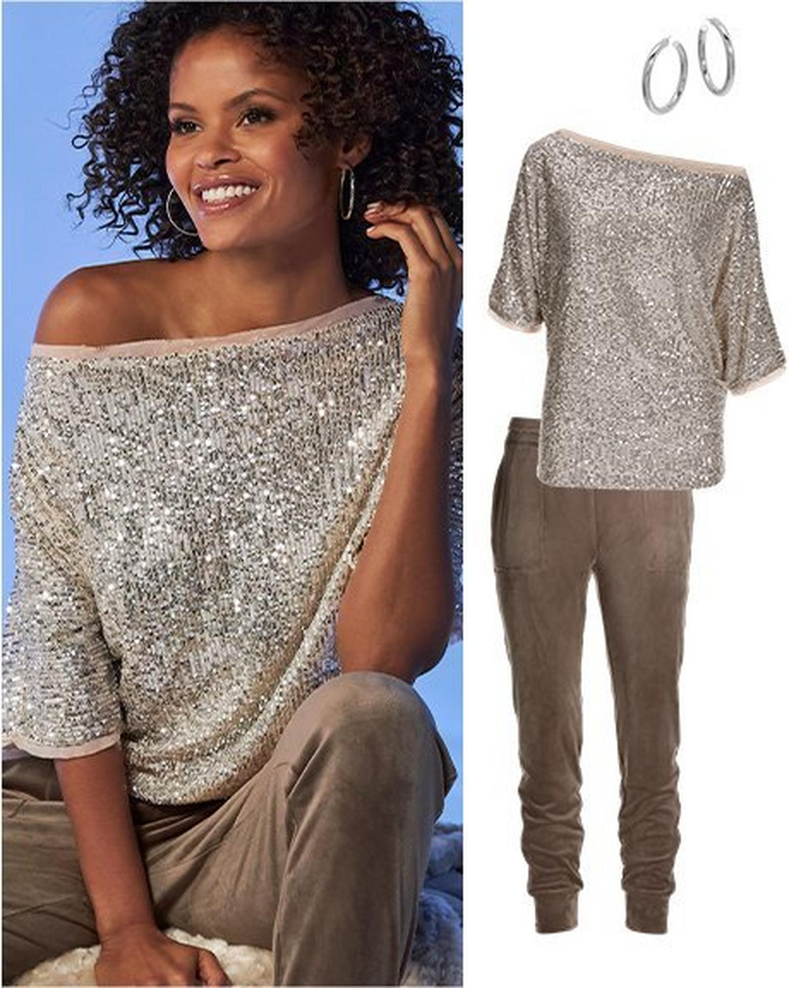 model wearing a sequin embellished slouchy top, taupe velour joggers, and silver hoop earrings. all items shown the right separately.