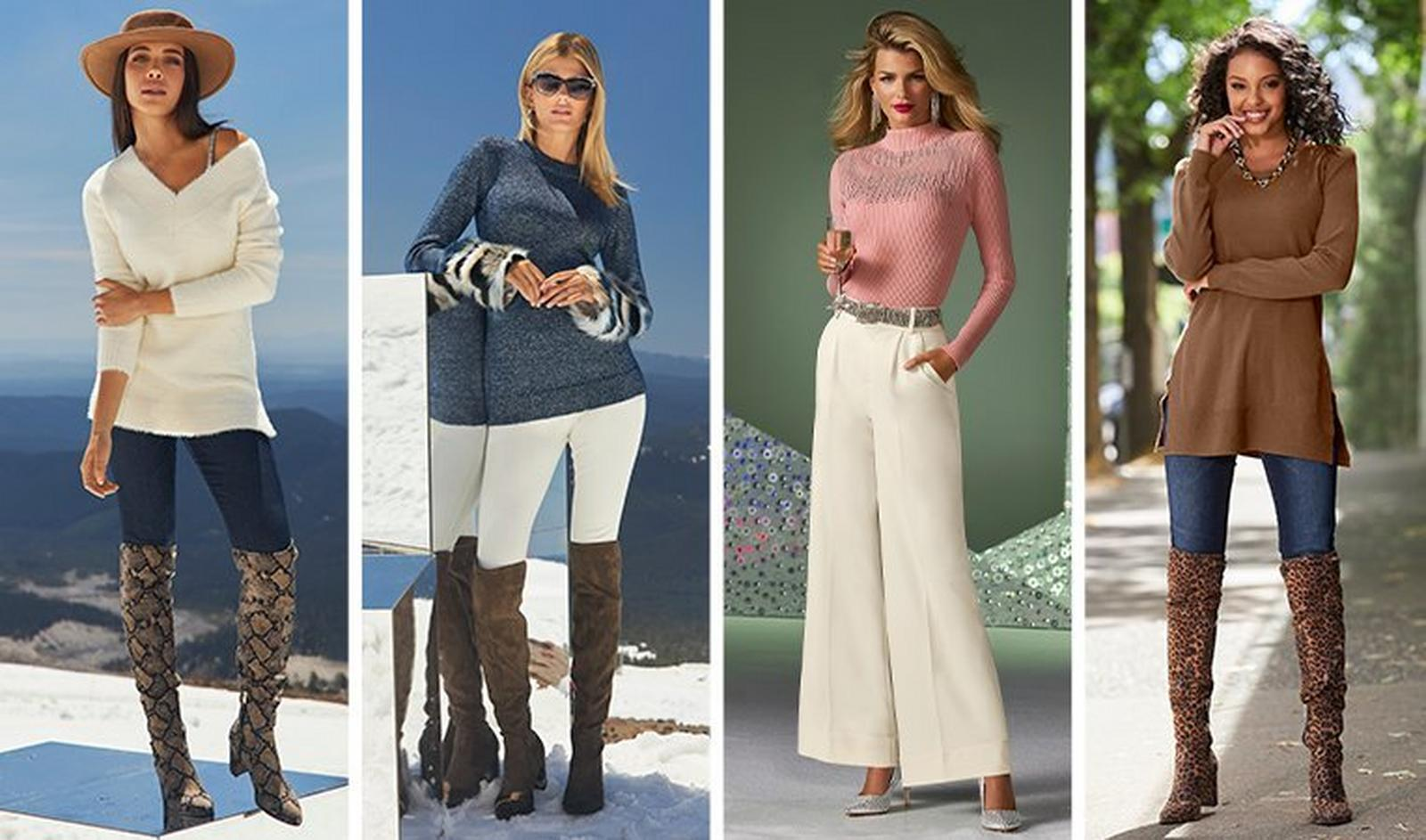 from left to right: model wearing a white v-neck sweater, denim stirrup leggings, python print over-the-knee boots, and a brown felt hat. next model wearing a blue sweater with multicolored faux-fur cuffs, white leggings, and brown over-the-knee boots. next model wearing a pink ribbed mock neck sweater with rhinestone embellishments, white wide-leg pants, silver chain belt, pearl strand earrings, and silver rhinestone embellished pumps. last model wearing a brown puff-sleeve sweater, denim stirrup leggings, and leopard print over-the-knee boots.