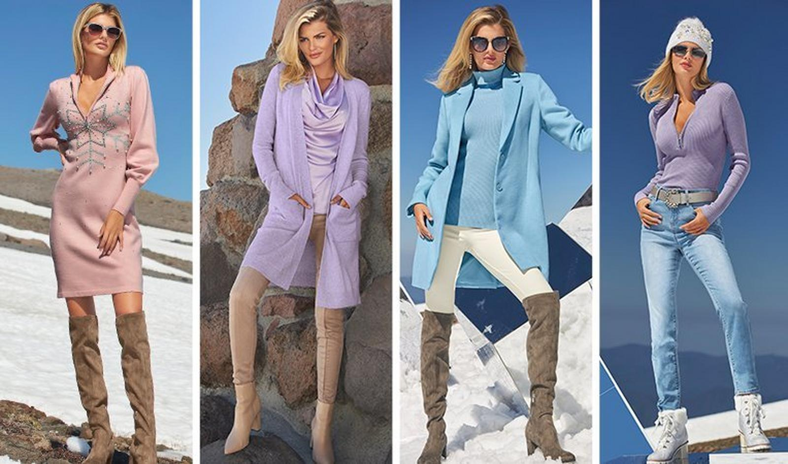 from left to right: model wearing a light pink long-sleeve sweater dress with a rhinestone snowflake embellishment and taupe over-the-knee boots. next model wearing a lavender cashmere cardigan, lavender cowl neck top, tan faux-suede leggings, and tan leather booties. next model wearing a light blue topper coat, blue ribbed turtleneck sweater, white leggings, and taupe over-the-knee leggings. last model wearing a lavender ribbed half-zip sweater, pearl embellished silver belt, light wash jeans, white faux-fur lace-up embellished boots, and white pearl embellished beanie.
