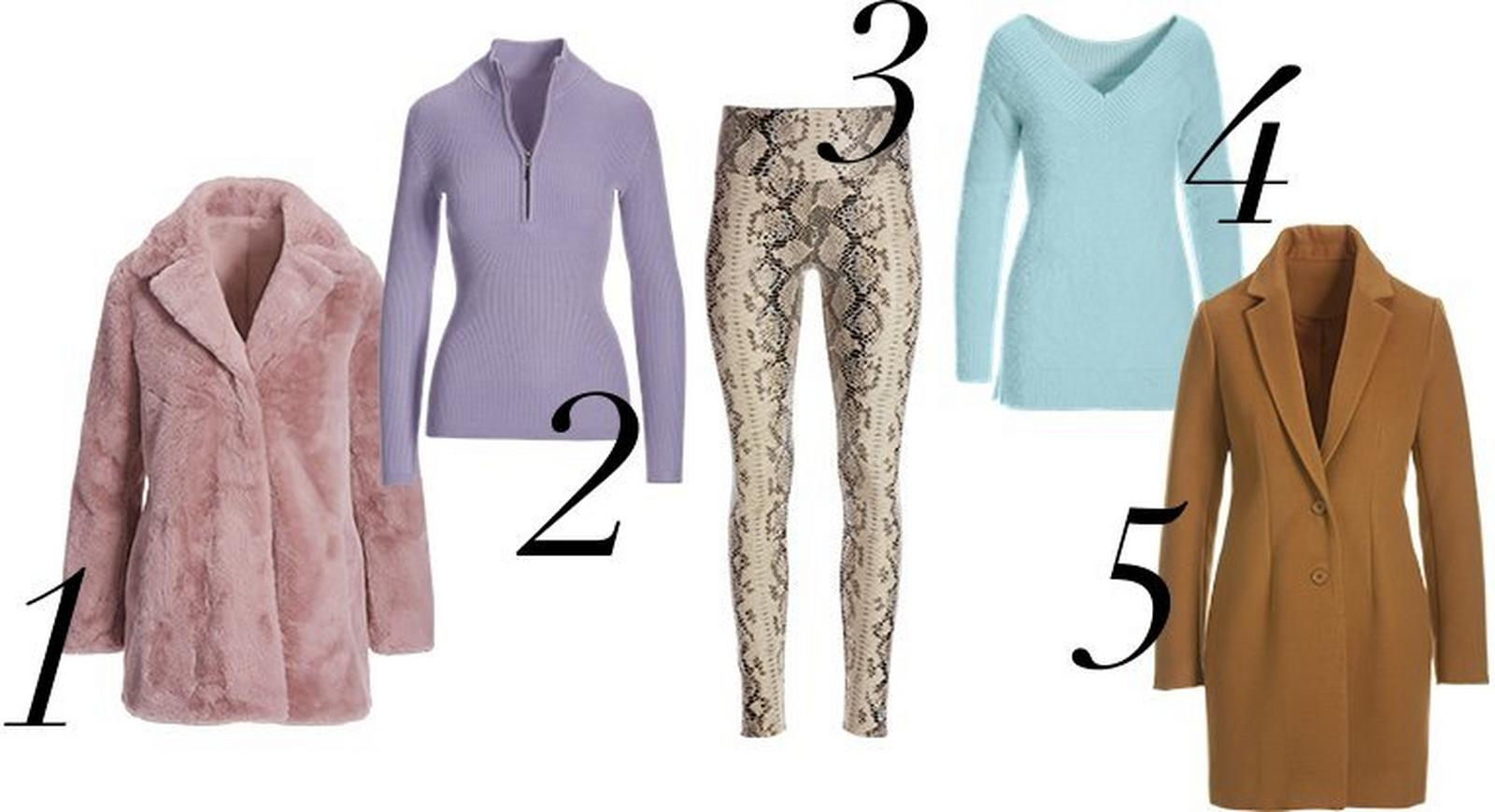 from left to right: pink faux pink coat, lavender half-zip ribbed sweater, beige snake print faux-leather leggings, light blue cozy v-neck sweater, and camel colored faux-wool topper coat.